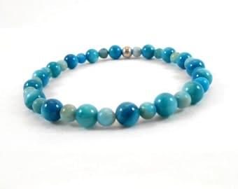 Sapphire Shell and Turquoise Jasper Bracelet, Summer Stretch Bracelet, Jasper Bracelet, Turquoise Bracelet, Turquoise Jewlery, Mens, Womens