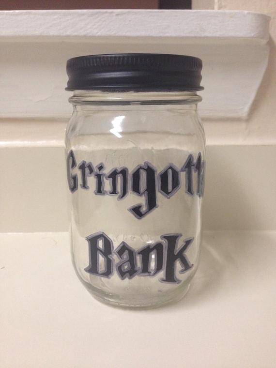Harry Potter Gringotts Wizarding Bank Mason Jar Money Coin
