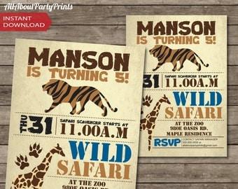 PDF format-Instant Download-Safari-Zoo Party Printable-invitation-ticket invitation-access card-game ticket-digital file
