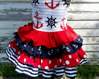 Nautical Red, White and Cute Ruffle Dress