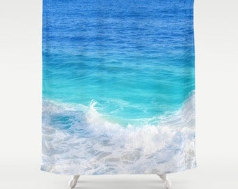 blue teal ocean shower curtain deep ocean blue bathroom beach tropical wave shower curtain