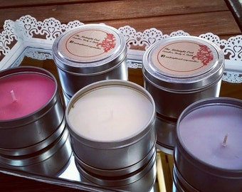 Travel Tin 100% Soy Candles 225g. Assorted scents available.
