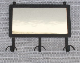 Little Wall mirror with black metal hooks / mid century France entrance / Holy10