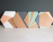 Handmade Wooden Geometric Hexagon Placemats   | Set of 4 or 6