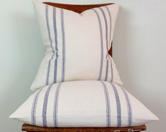 Blue Stripes on Light Natural Linen French Grain Sack Pillow cover - Knife Edge Finish