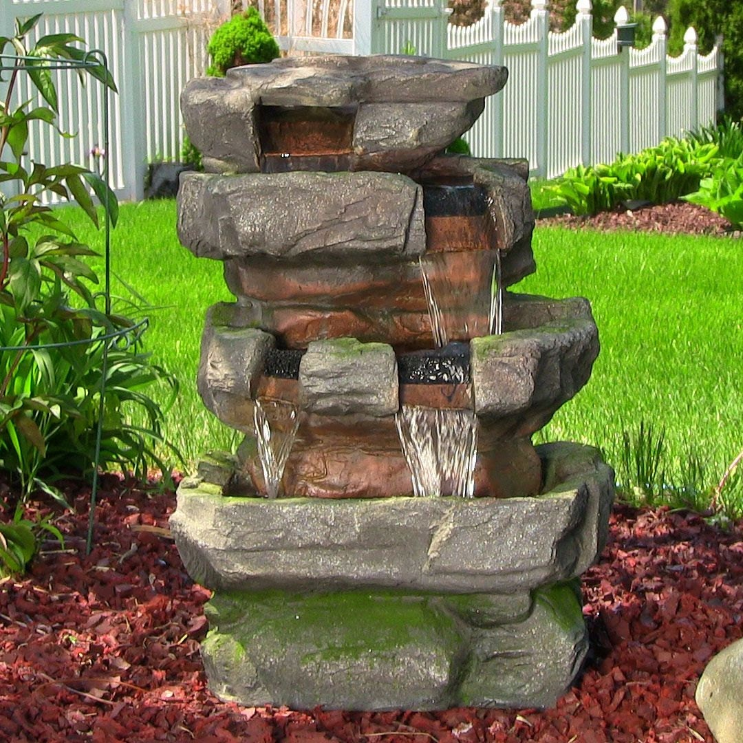Outdoor indoor rock water fountain waterfalls garden by for Garden rock waterfall fountain