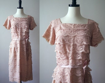 1950s pale pink lace wiggle dress • 50s Lord and Taylor dress •  medium