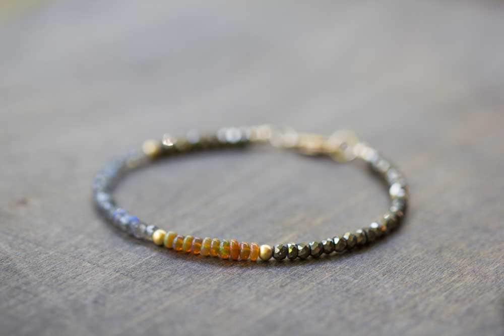 Opal Pyrite & Labradorite Bracelet Delicate Gemstone Beaded