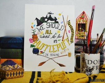Hufflepuff Pride - Harry Potter Painting - Vertical Print