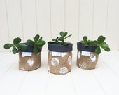 """FABRIC BUCKET SET Of 3 Handprinted Hessian Storage Containers - Mini Size Grey Lining """"Cosy Pots"""""""