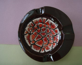 Vintage Mid Century modern tangerine/red and brown ceramic ash tray