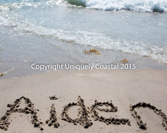 Name in Sand, Baby Boy Gift, Personalized Artwork, Beach, Nursery Decor - Aiden