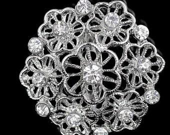 Small Rihestone Brooch, Wedding Pin, Wedding Brooch, Rihestone brooch, Flower Brooch,  Brooch, Unique Brooch, Metal, Heart Brooch