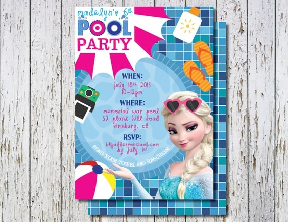Frozen Pool Party invitation