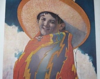 Lithograph My Daddy's Hat by Hernando Villa Laughing Boy with Sombrero 1940's