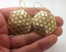 """Gold plated hexagon Flower of Life Earrings -14K gp - size 1.3"""" - Seed of life"""