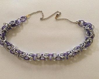 Purple & Silver Byzantine weave necklace