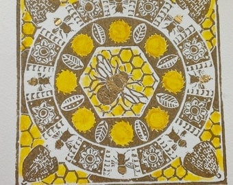Bee Mandala: original hand-pulled linocut print, hand-coloured and gilded, 15 x 15cm print on 21 x 21 cm art paper