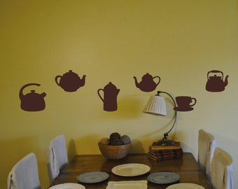 Tea pots, Coffee cups kitchen Wall Decals, Set of 10