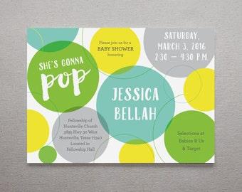 She's Gonna Pop! Funky, Fun Baby Shower Invitation