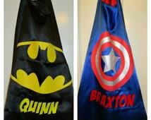PERSONALIZED Superhero Cape  - Batgirl, Spidergirl, Supergirl, Wonder Woman, Batman, Captain America, Superman