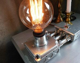 Silver Steampunk Lamp for Industrial Lighting - Steel Sidecar