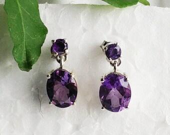 Natural PURPLE AMETHYST Gemstone Earrings, Birthstone Earrings, 925 Sterling Silver Earrings, Fashion Handmade Earrings, Drop Earrings