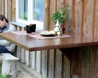Wooden wall mounted drop leaf table in solid oak - Space saving table -  Dining table - Fold down