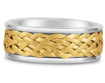 Weaved Wedding Band in 14K Two Tone Gold