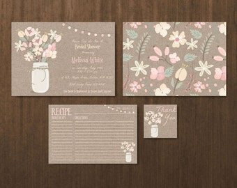 printable bridal shower invitation recipe card thank you tag set bridal shower set bridal shower printables bridal shower set br15