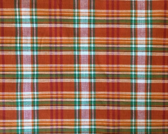 100% Cotton Madras Plaid Fabric By the Yard Orange Green White (Style 1405)