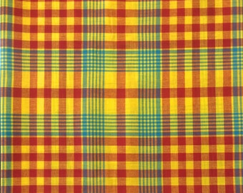 100% Cotton Madras Plaid Fabric By the Yard Orange Green White (Style 506)