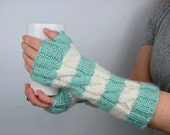 Striped Fingerless Gloves, Long Arm Warmers, Seafoam Green and White, Fingerless Mitten, Two Color Fingerless Mitts, Wrist Warmer, Gift Idea