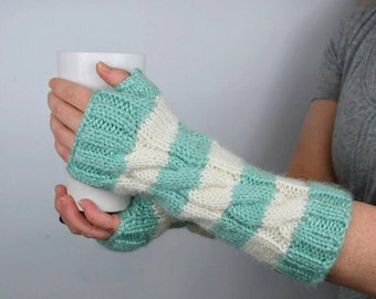 Striped Fingerless Gloves | Long Arm Warmers | Knit Fingerless Mittens | Seafoam Green and White | Long Fingergless Gloves | Mint Texting