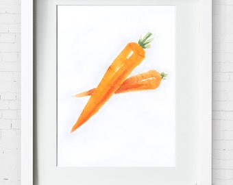 Kichen art Carrot Watercolor Painting/Chinese painting–Vegetables Watercolor Abstract art Painting,Kichen Print,Archival Print, Wall Decor