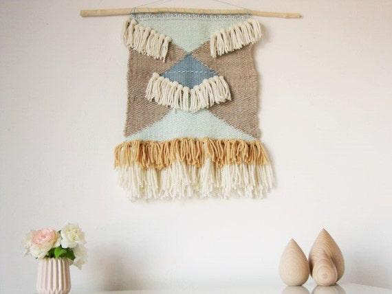 Grand tissage mural scandinave fait main en pure laine vierge for Decoration murale laine