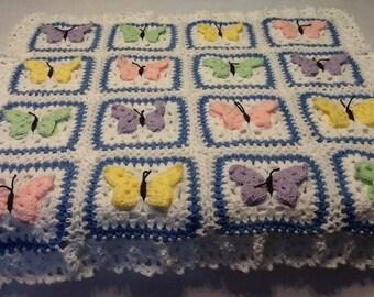 Butterfly afghan, baby afghan, baby blanket