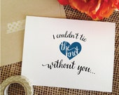 NAVY Heart with I couldn't TIE the knot without you Front and Inside Print Will you be my bridesmaid cards (Stylish) - CHECK Detail!