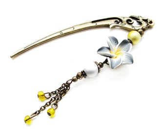 SALE Japanese hair stick with gray and yellow polymer clay fimo flower, hairstick, pin, kanzashi, hair ornament - stick to choose