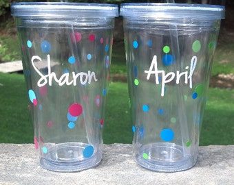 Polka dot tumblers personalized with name, Birthday Gift, acrylic tumblers with lid and straw, water tumbler. BPA Free