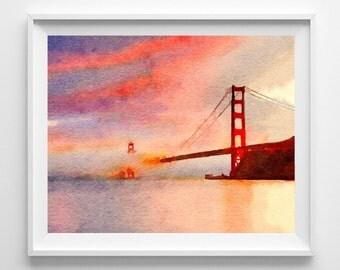 San Francisco,Art Print,Painting,Watercolor,Pic no 67
