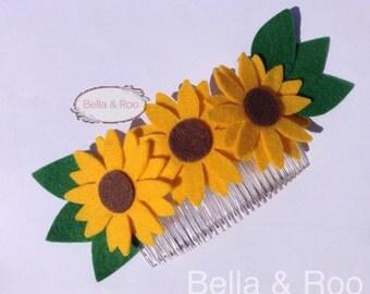 Felt Sunflower Hair Comb. Festival, Wedding, 'Everyday I'm Gorgeous' Hair