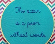 """SALE - The Ocean Is A Poem Without Words 6"""" Wooden Hoop"""