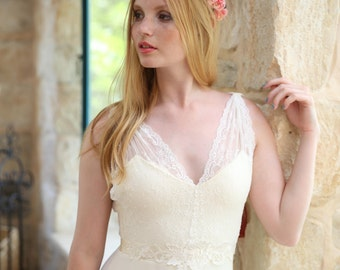Reagan - Romantic wedding dress with lace top and chiffon skirt, boho wedding dress, backless  wedding dress, beach wedding dress