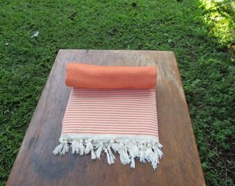 Orange Thick Turkish Bath Towel