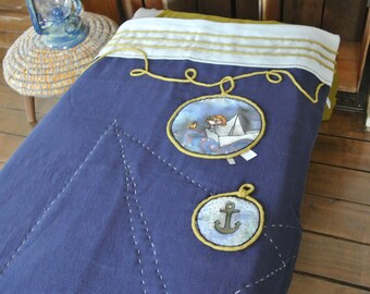Baby bedding, baby blanket, Nautical bedding, baby bed, anchor, boat, one of a kind, Nautical, cotton gauze, muslin