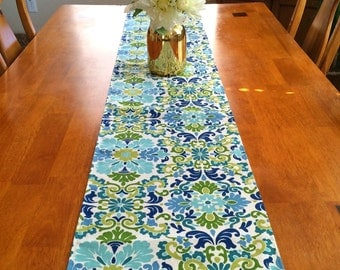 Flowers Table Runner ~ Blue green white Table Runner ~ Green blue Table Runner ~