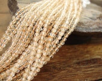 Honey Citrine 3mm Round Ball Honey Yellow Orangey 40cm Strand Approx 120 pcs (sku#367)
