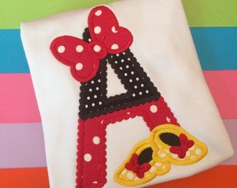 Minnie Mouse Initial Appliqué Ruffle Shirt