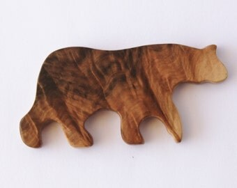 Australia Bear Brooch, Double-Sided Australian Wood - Made in Australia